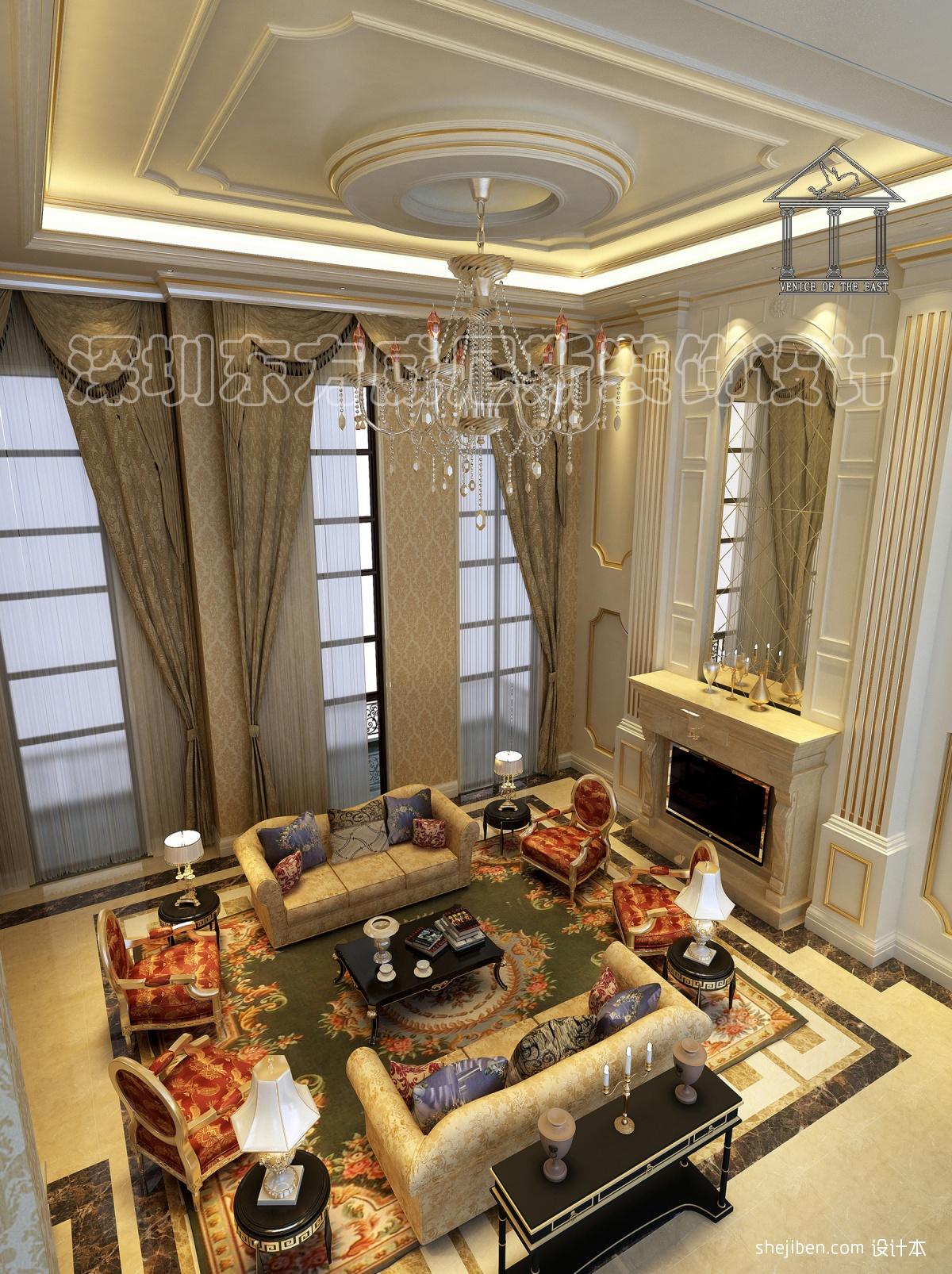 独栋欧式别墅装修客厅吊顶效果图装修效果图