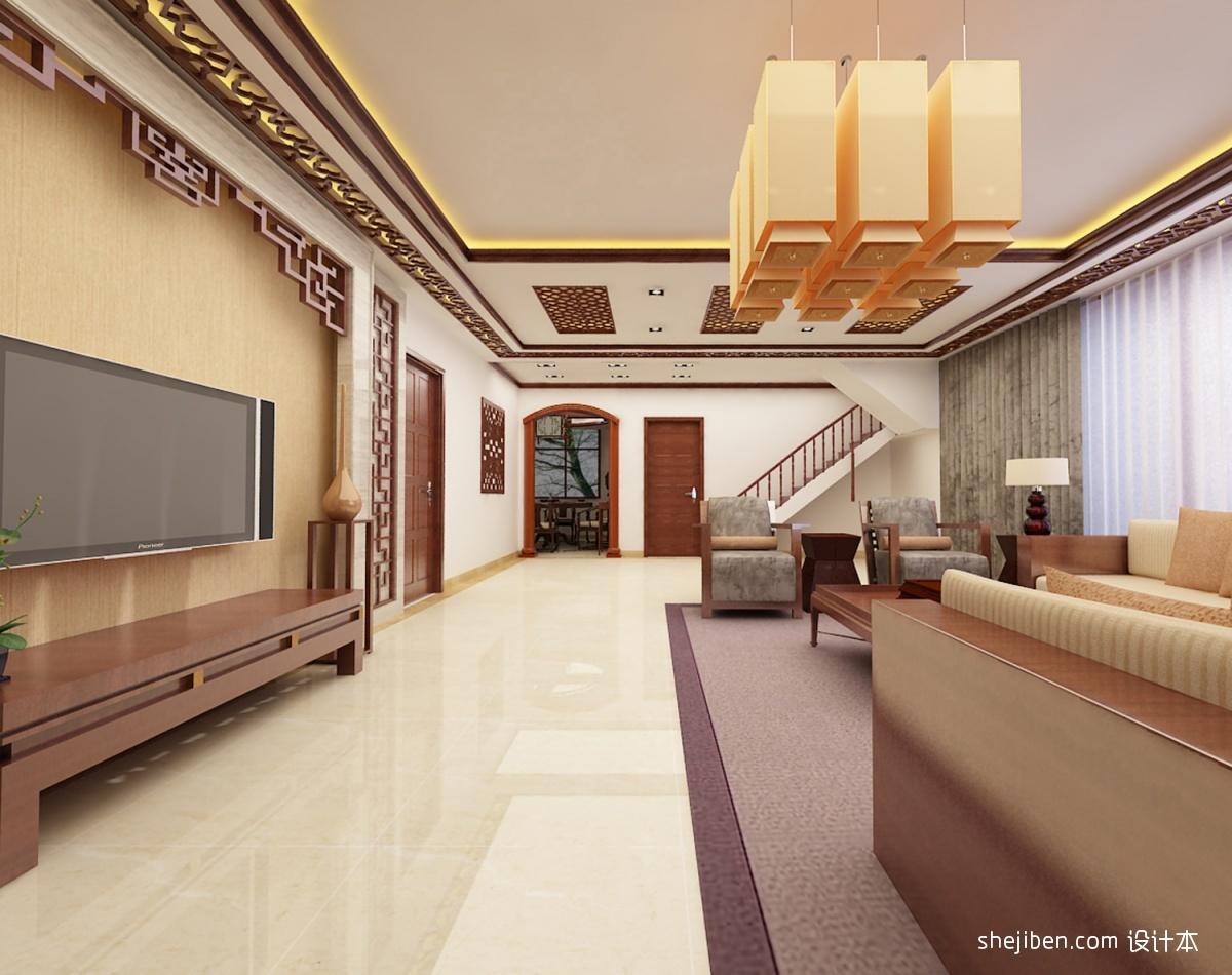 新中式客厅吊灯装修效果图装修效果图