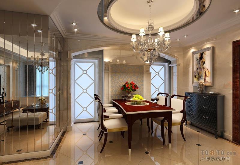 客厅餐厅圆形吊顶效果图装修效果图