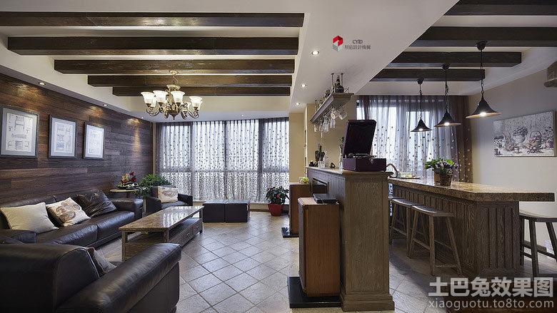 美式风格客厅与餐厅隔断装修效果图装修效果图 第5张 家居图库 九正高清图片