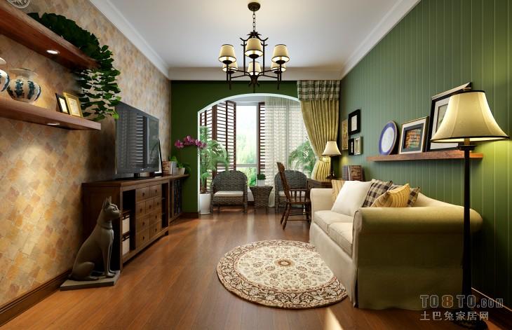 田园客厅装修装饰设计效果图装修效果图
