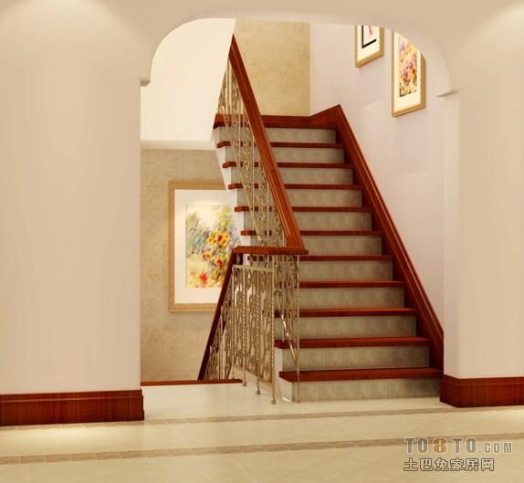 美式别墅楼梯过道装修效果图大全2013图片 (3/8)
