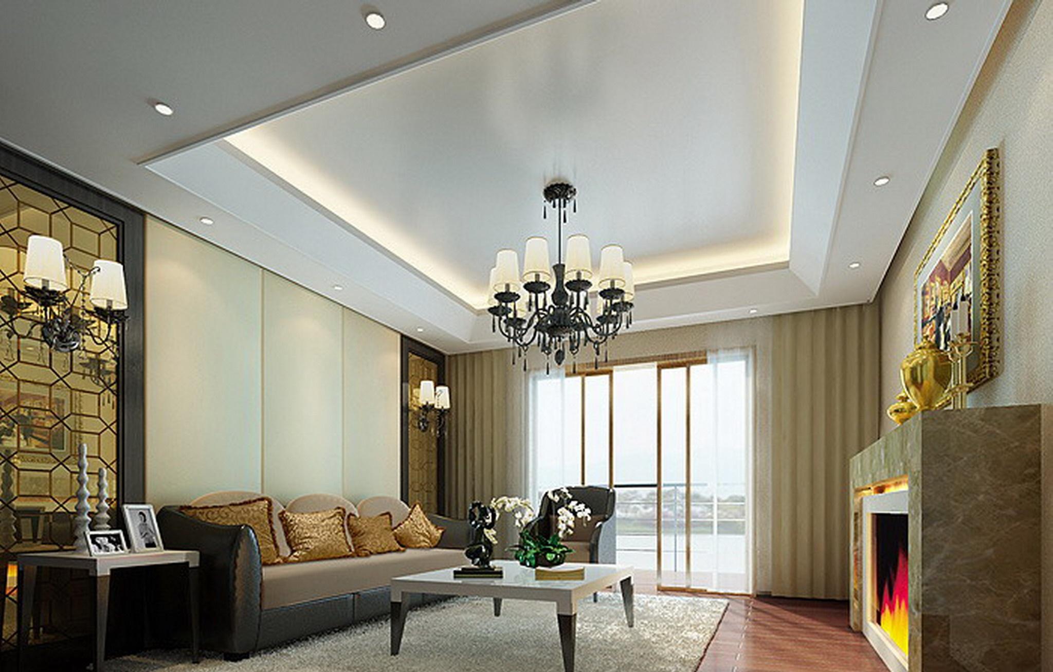 简约客厅吊顶装饰效果图装修效果图
