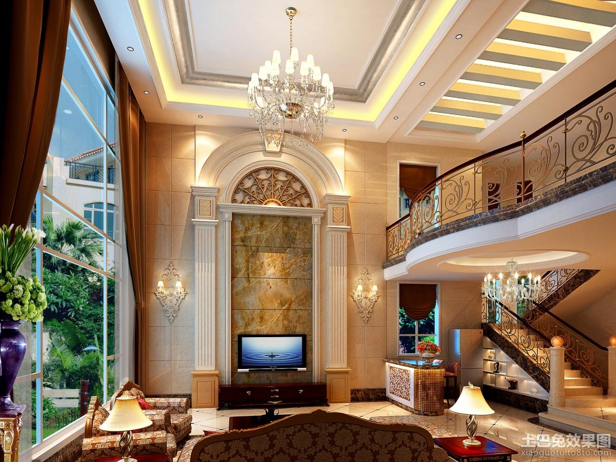 新欧式别墅客厅吊顶装修效果图装修效果图 第1张 家居图库 九正家居高清图片