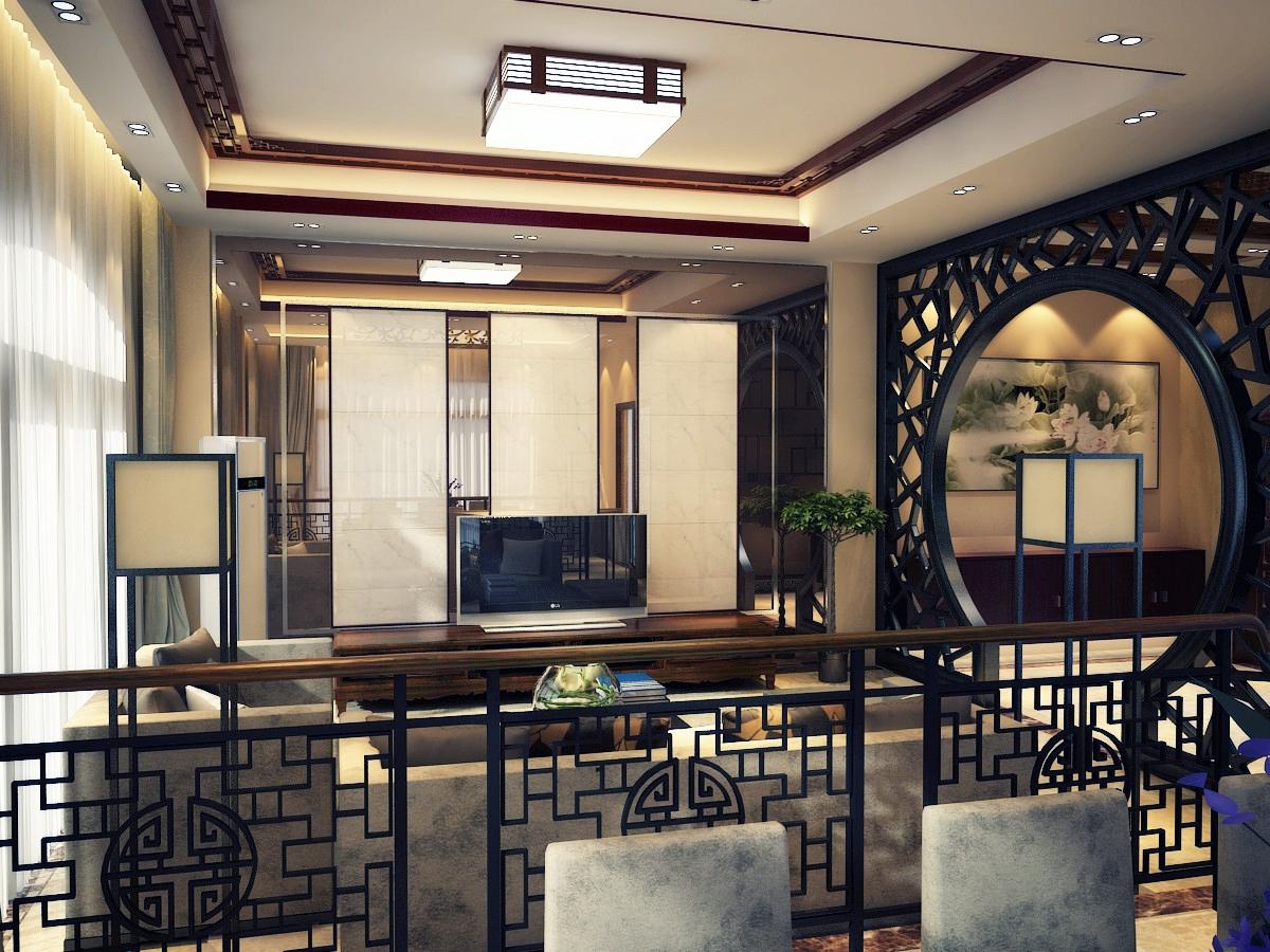 2013新中式客厅电视背景墙装修效果图片欣赏 (2/3)