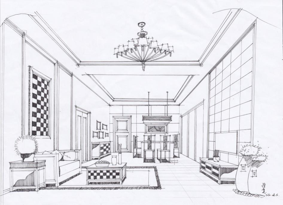别墅室内手绘线稿
