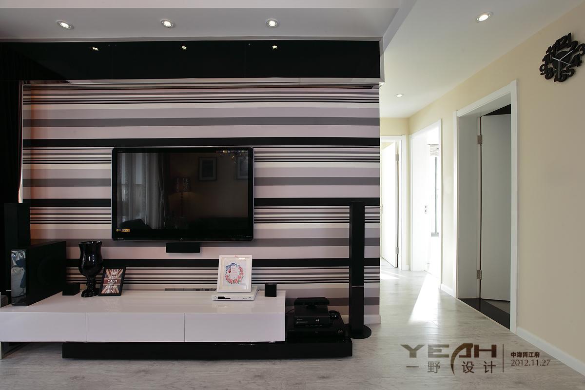 黑白条纹电视背景墙壁纸贴图装修效果图