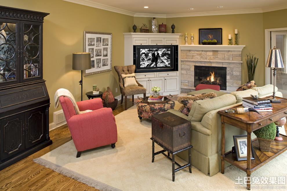 欧式小客厅电视柜背景墙效果图装修效果图图片