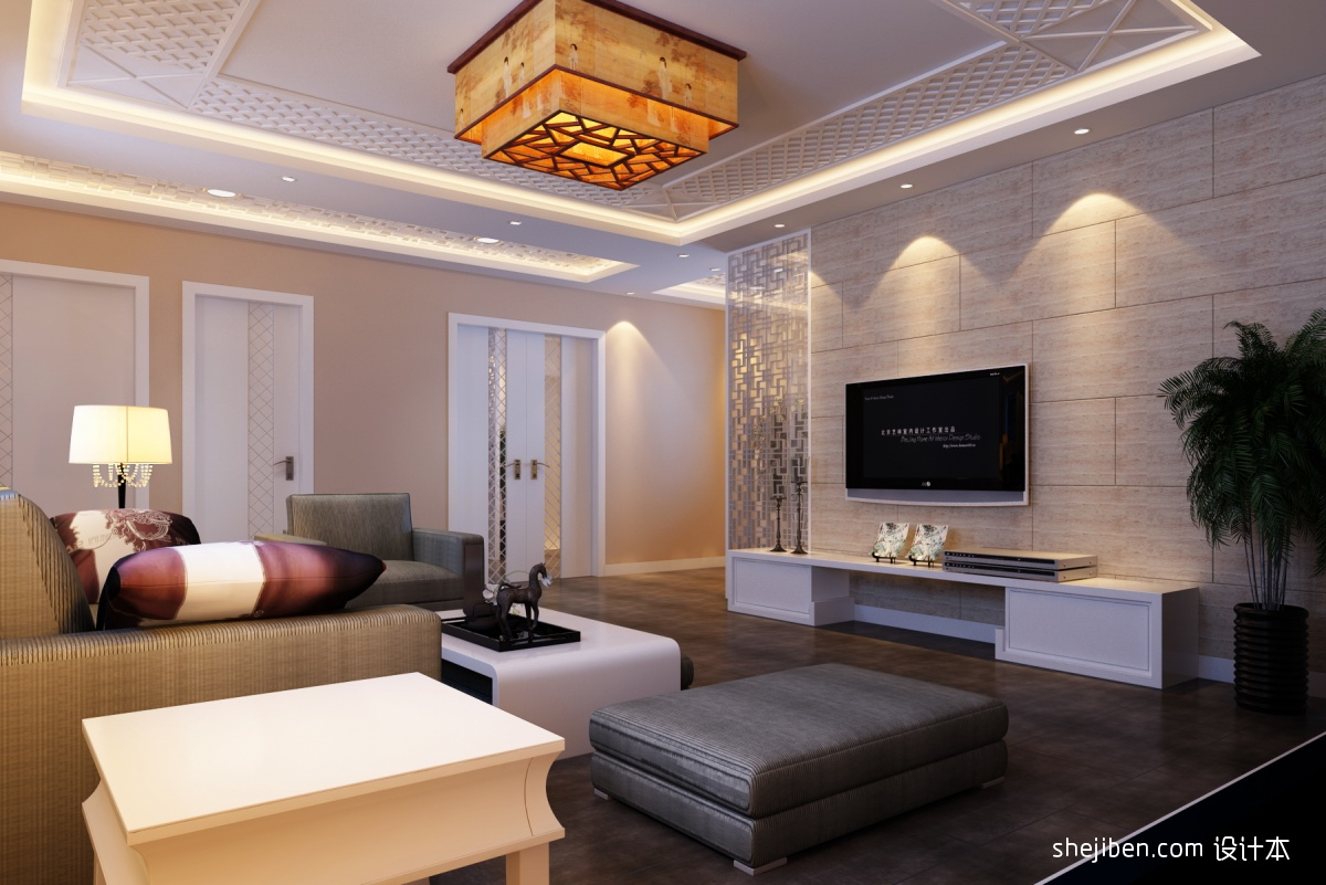 新中式客厅电视机背景墙设计效果图装修效果图