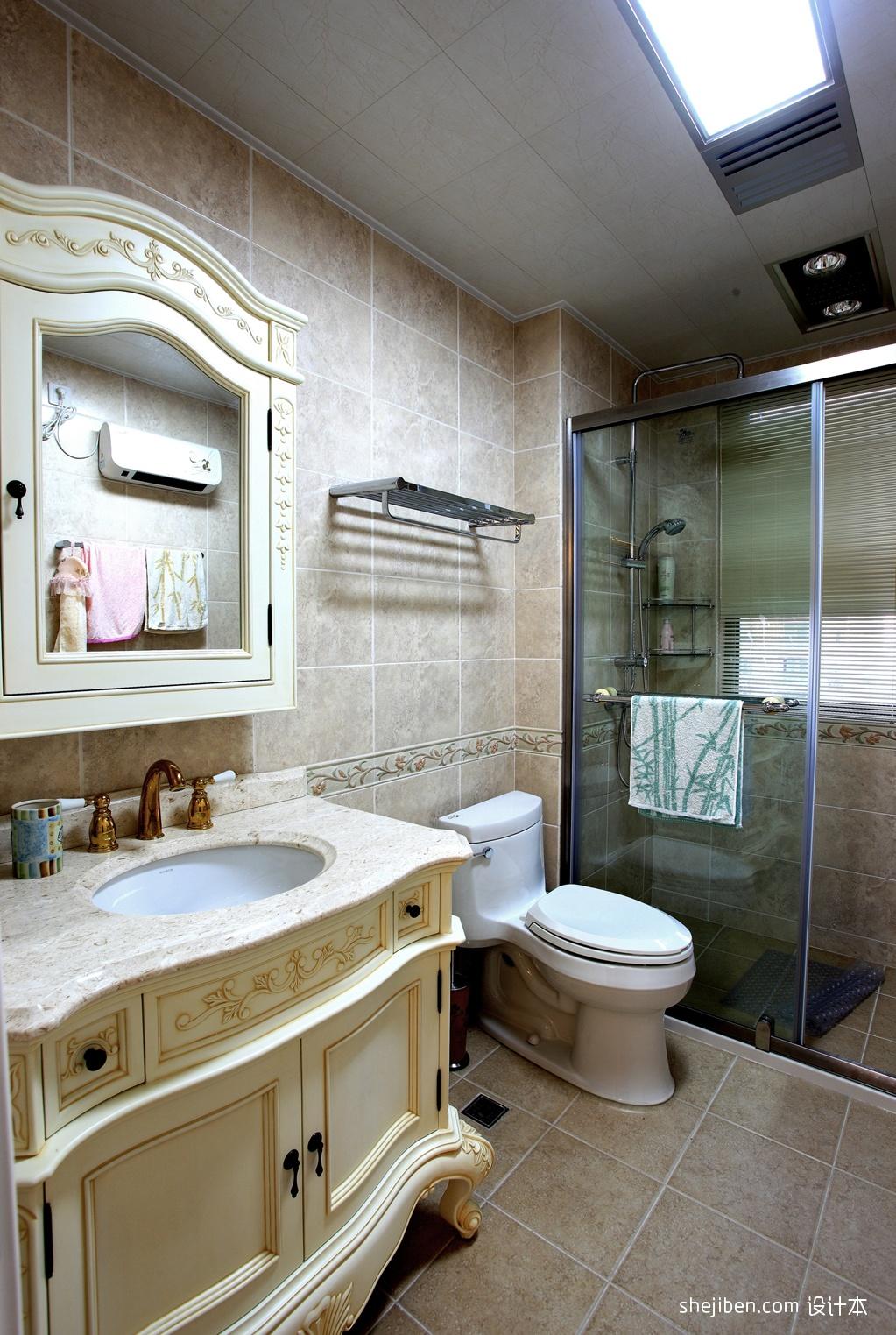 卫生间集成吊顶仿古砖淋浴房装修效果图装修效果图 第7张 高清图片