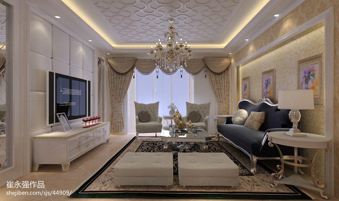 欧式整体客厅软包电视背景墙效果图装修效果图图片