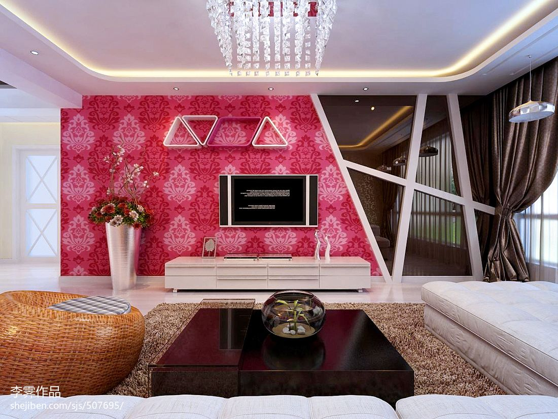 客厅电视背景墙花纹壁纸装修效果图装修效果图