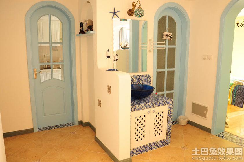 卫生间洗手台 隔断墙 设计装修效果图 地中海风格卫生间洗手 台隔断