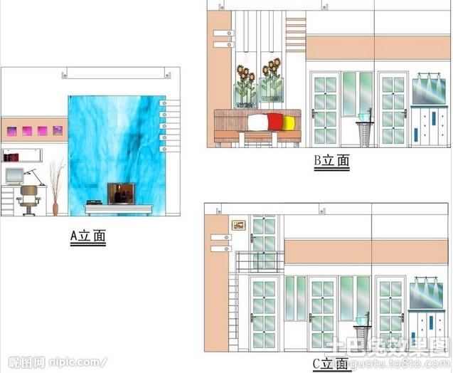 室内手绘立面图装修效果图