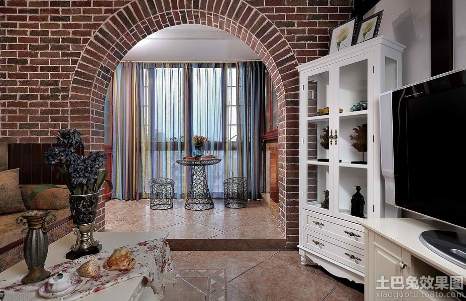 仿古砖拱门客厅隔断装修效果图装修效果图