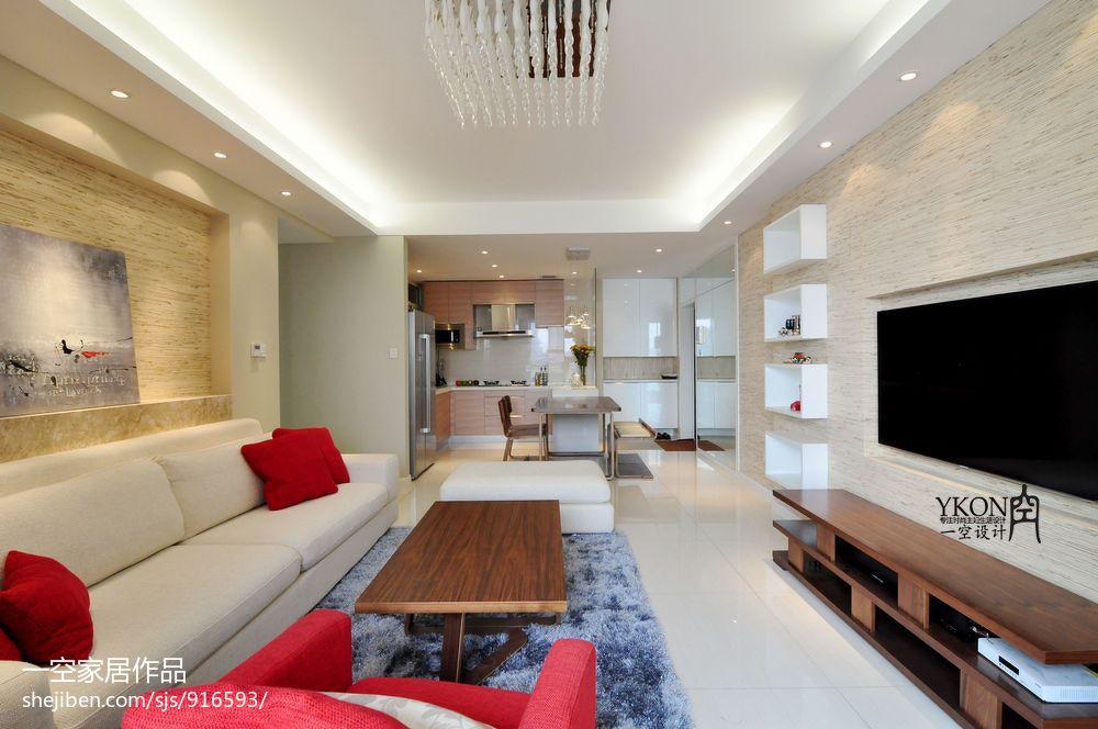 现代风格客厅木质电视背景墙装修效果图 (9/9)