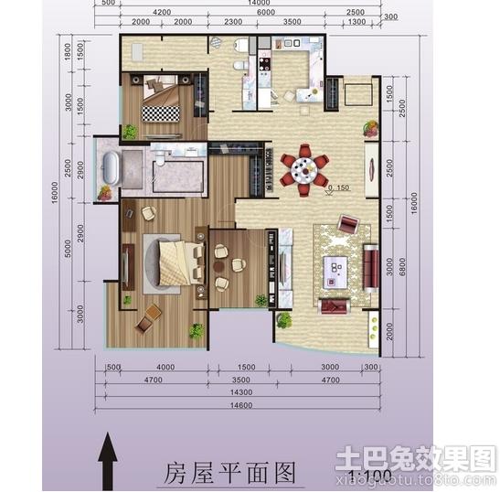 一层平房屋设计图纸装修效果图