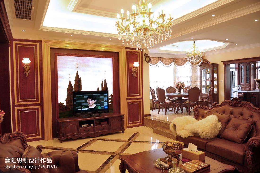 美式风格客厅挂画电视背景墙装修效果图装修效果图