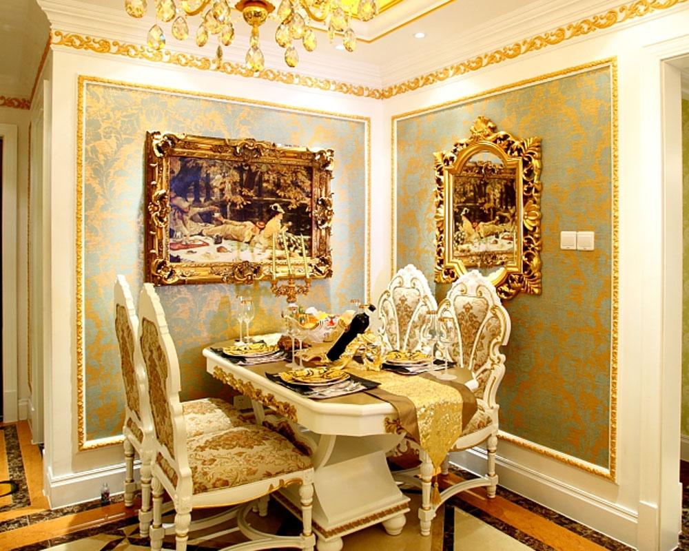 奢华欧式餐桌背景墙效果图装修效果图