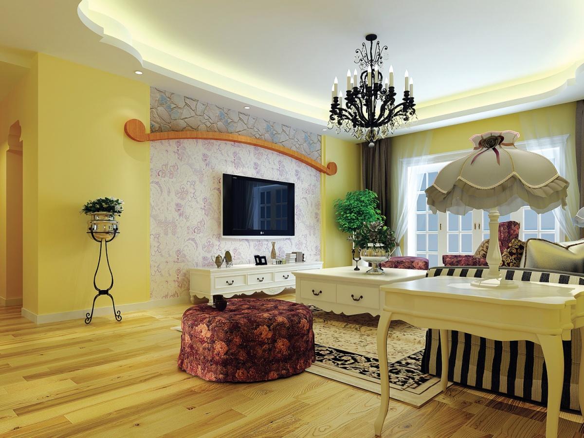 田园风格客厅电视背景墙壁纸装修效果图装修效果图