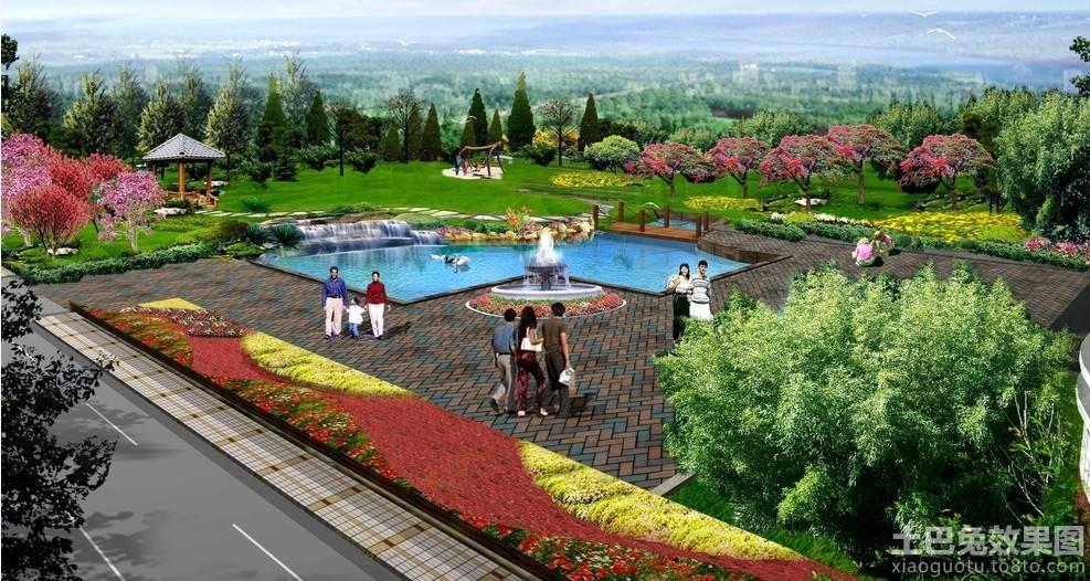 公园广场长方形花坛设计图装修效果图