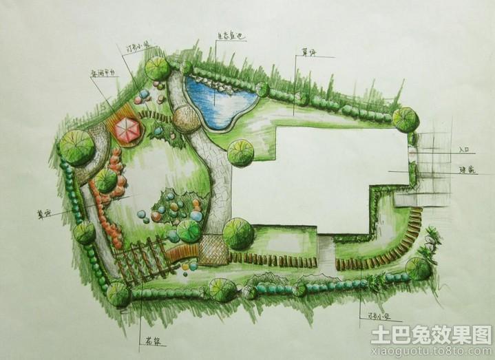 手绘园林设计平面图装修效果图