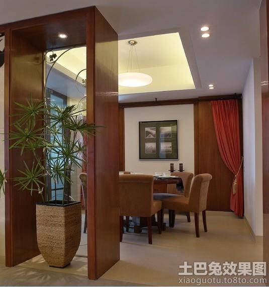 室内餐厅大盆栽植物图片装修效果图