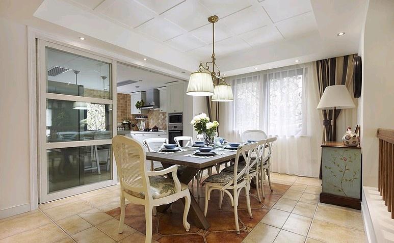 欧式田园风格厨房与餐厅隔断设计装修效果图_第1张