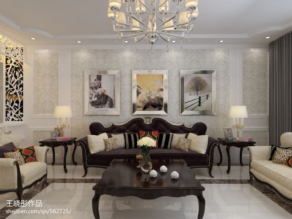家居图库 欧式新古典风格客厅瓷砖电视背景墙装修.图片