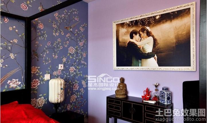 卧室中式花纹墙纸贴图装修效果图