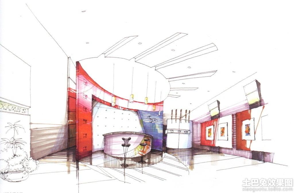 家装吧台手绘设计图
