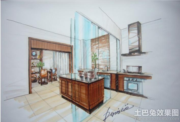 室内开放式厨房手绘效果图装修效果图