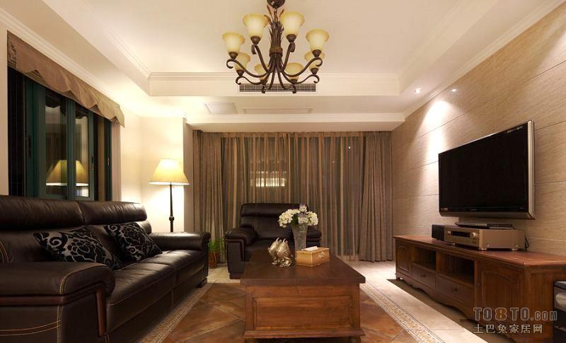 美式80平米小户型客厅电视背景墙装修效果图 (6/6)图片