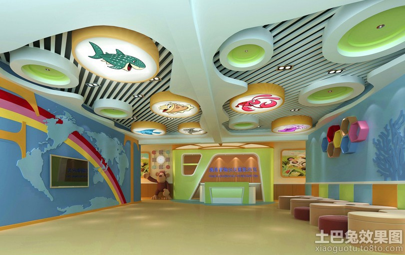 创意幼儿园教室装修吊顶效果图装修效果图