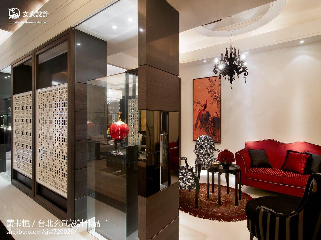 中式风格客厅屏风隔断柜装修效果图 7 11高清图片