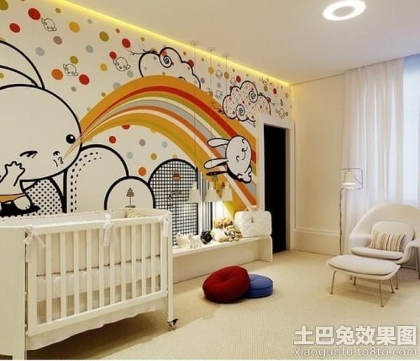 彩色儿童房手绘墙装修效果图