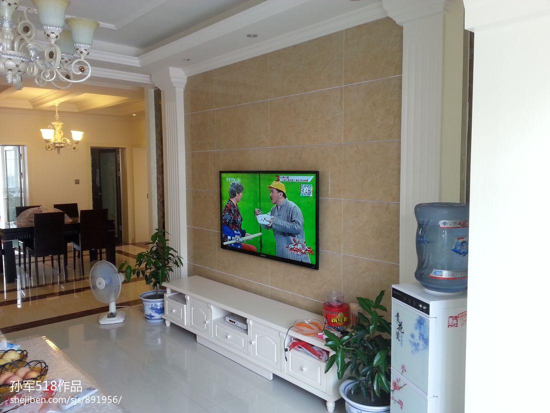 欧式客厅瓷砖电视柜背景墙效果图装修效果图