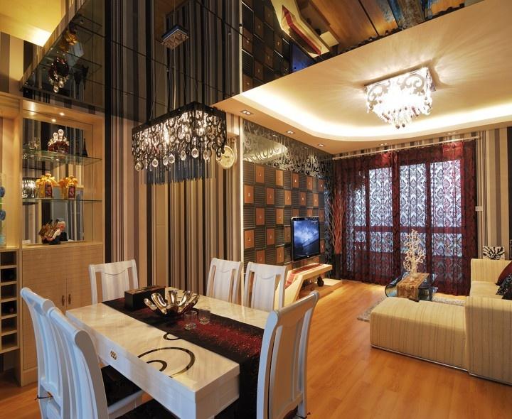 欧式风格50平米小户型客厅餐厅装修效果图装修效果图图片