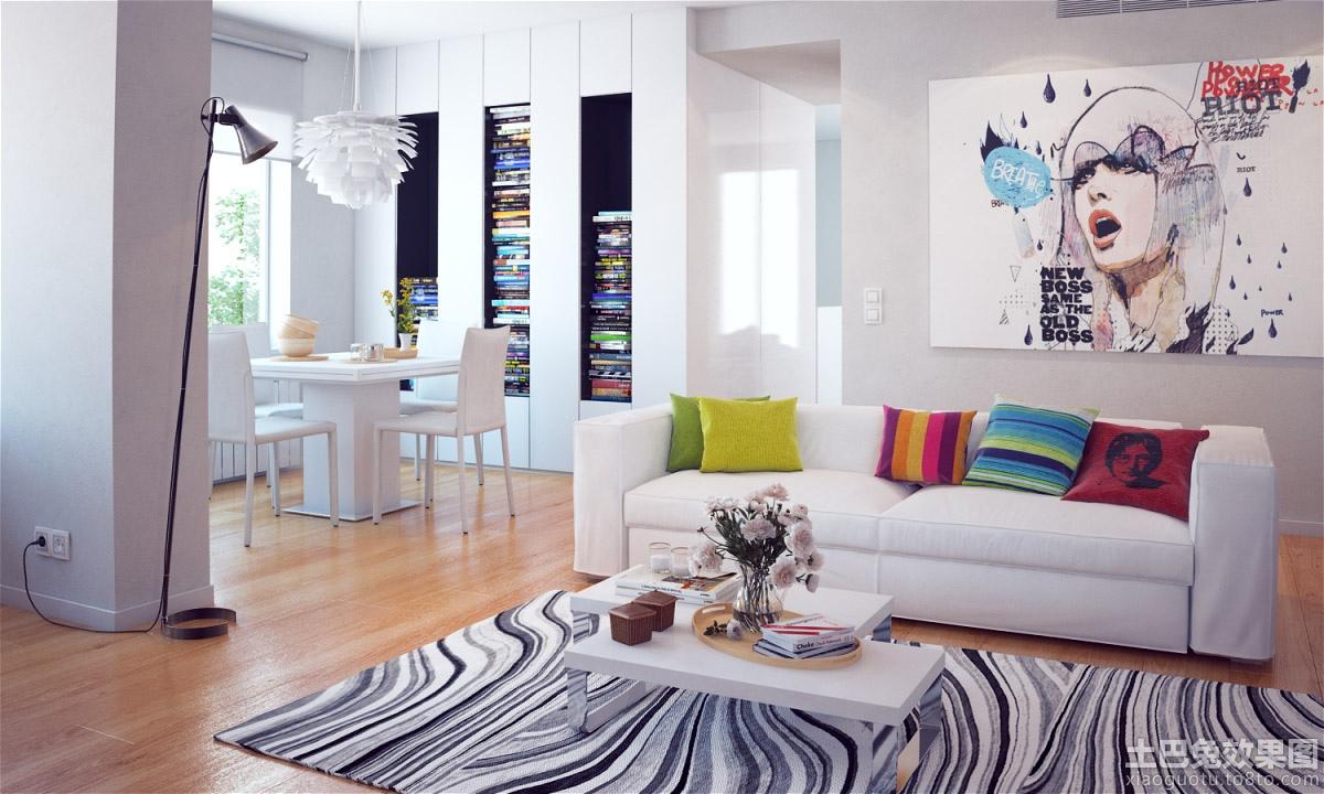 后现代风格40平米小户型客厅抽象画效果图装修效果图