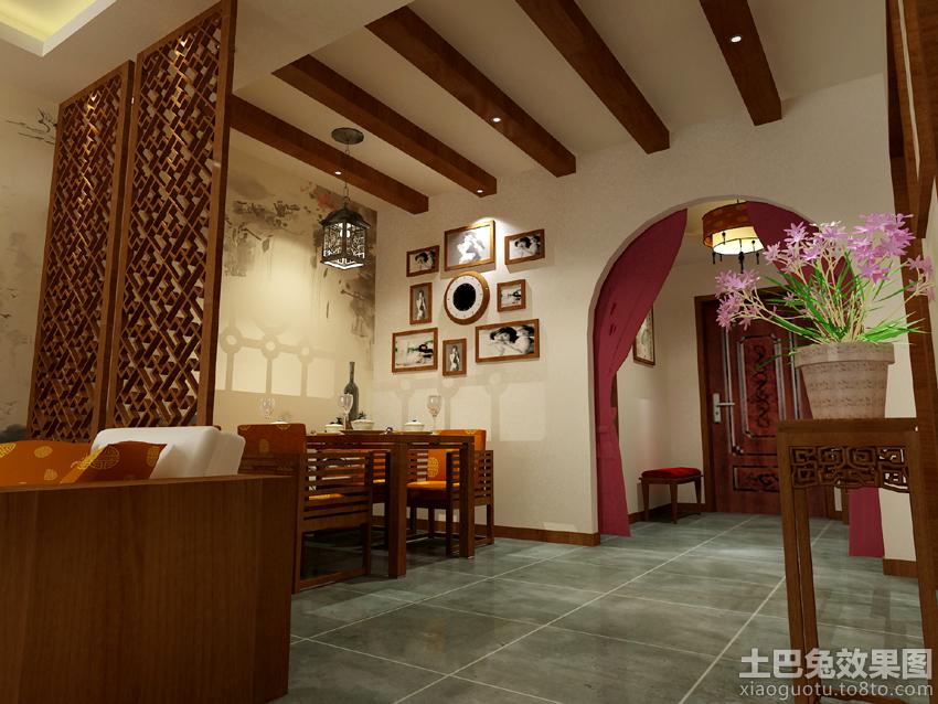 中式餐厅背景墙装饰效果图装修效果图