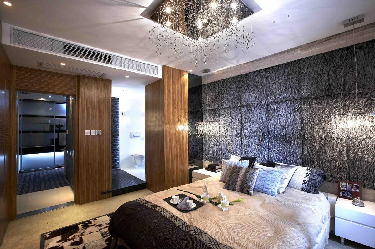 主卧室床头3d壁纸图片装修效果图