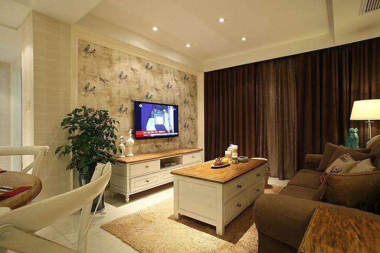 简美式小客厅电视墙效果图装修效果图 第1张 家居图库 九正家居网