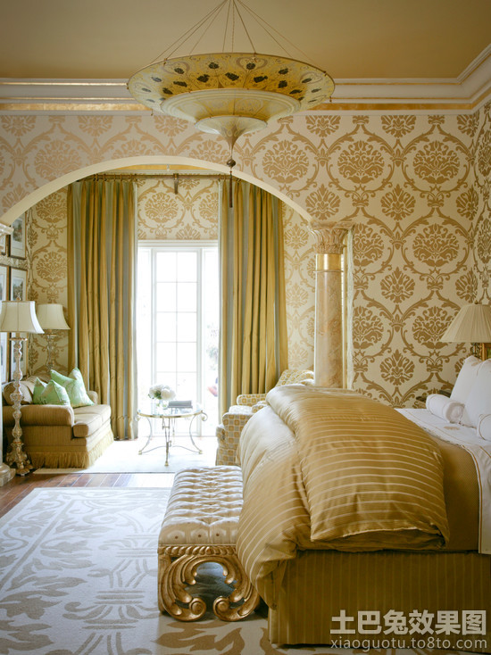 卧室壁纸欧式花纹图片装修效果图