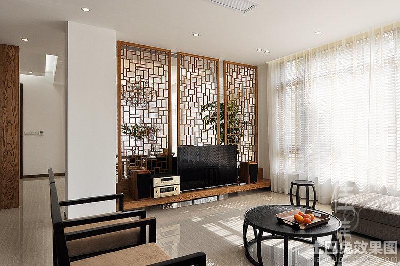 新中式客厅电视墙装修图片 (3/20)图片