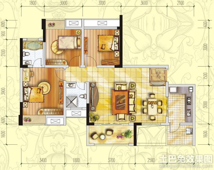 三居房屋设计平面图装修效果图