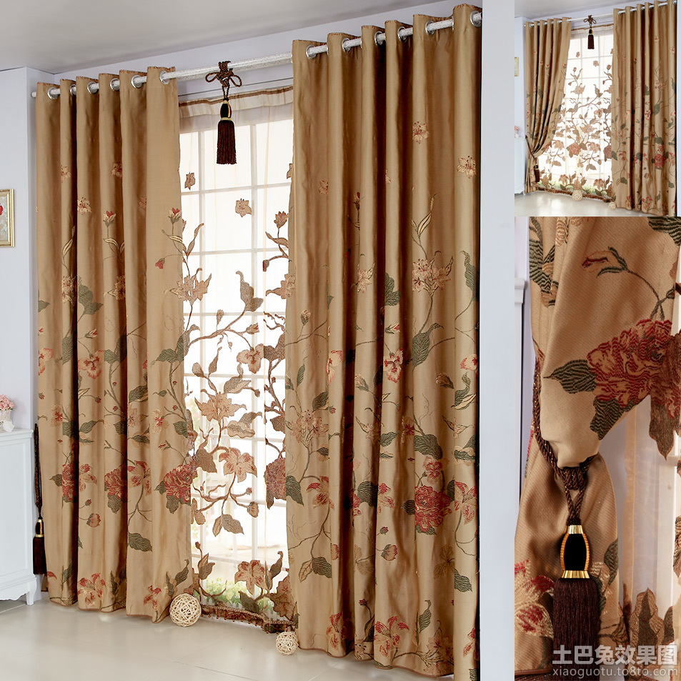 中式风格窗帘布艺贴图装修效果图