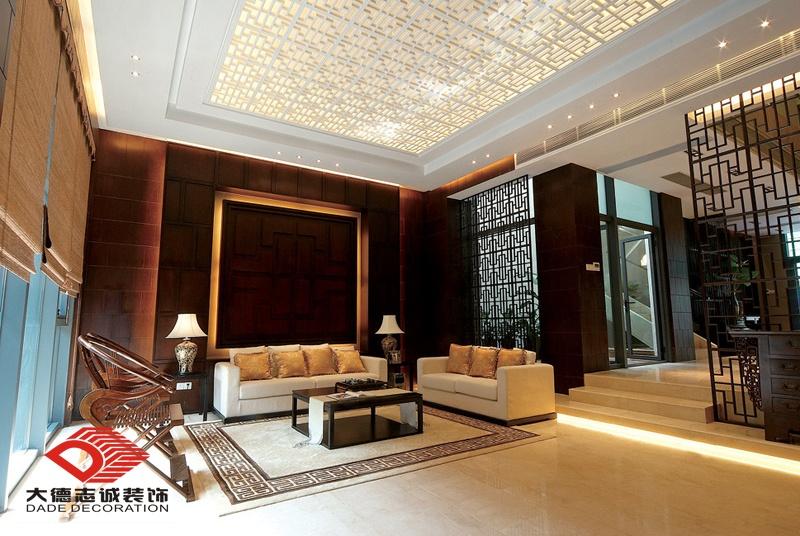 中式别墅客厅镂空雕花吊顶效果图装修效果图