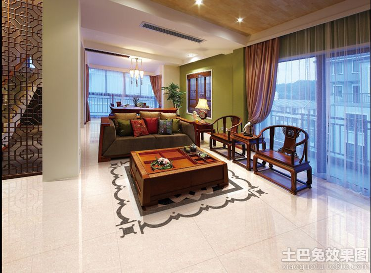 中式风格客厅地板砖效果图装修效果图图片