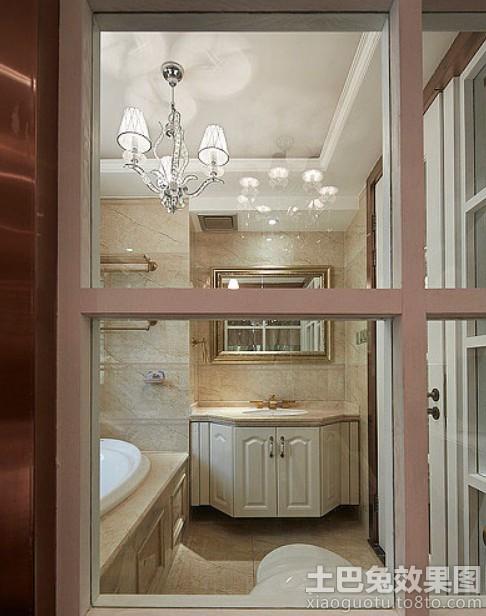 家庭卫生间欧式实木浴室柜效果图装修效果图图片