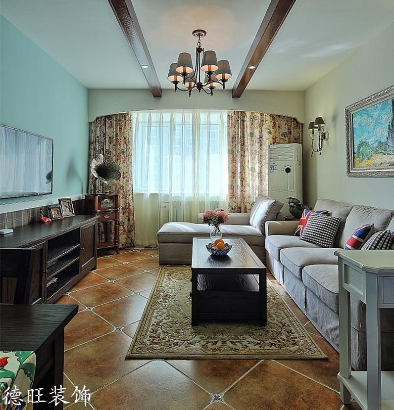 現代美式客廳有梁吊頂裝修效果圖片 (3/5)